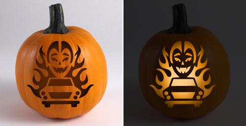 Hot Rod Pumpkin Stencil - Drak