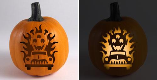 Hot Rod Pumpkin Stencil - Marti