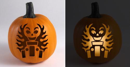 Hot Rod Pumpkin Stencil - Skully