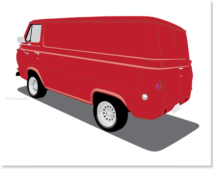 1965 Ford Van - Red