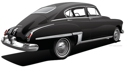 1949 Olds 76 Fastback Town Sedan Artwork