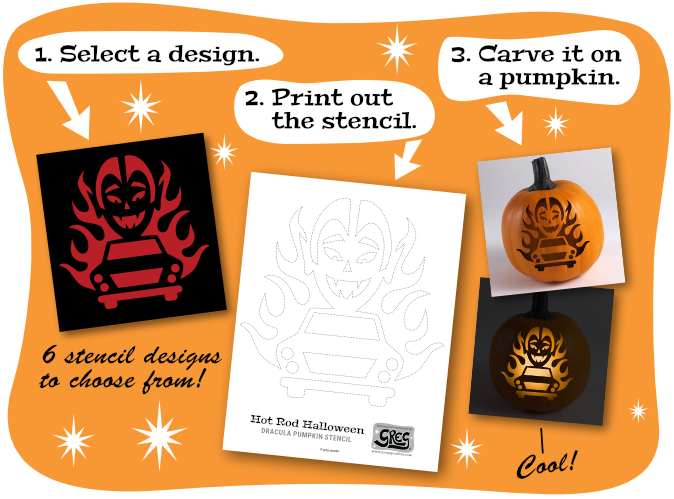 First select a design, then print out the stencil and lastly carve it on a pumpkin.